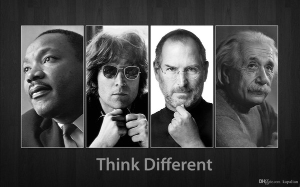 Free Shipping Think Different Poster Jobs Einstein Photopaper High Quality Art Posters Prints Home Decor Wall Paper 16 24 36 47 inches