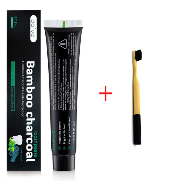 top popular Nature Bamboo Activated Charcoal Toothpaste with Environment Bamboo ToothBrush Teeth Whitening Clareador Oral Care 2021
