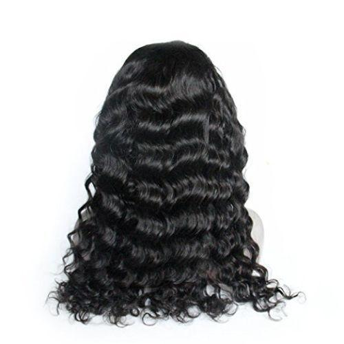 African american 360 lace frontal wigs for black women curly 360 lace wig virgin human hair 180% density16inch
