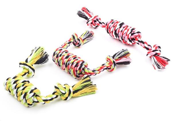 Mode molaire corde chien jouet corde chien à mâcher jouets Set coton tressé couleur de corde d'os idéal pour agressif Chewers 27 cm