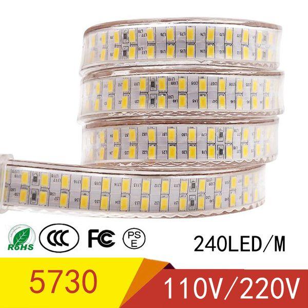 LED Strip Newest 110V LED Tape 5730 SMD Diode 240led/m Xmas Home Hotel Decor High-end Strip Light Waterproo IP67