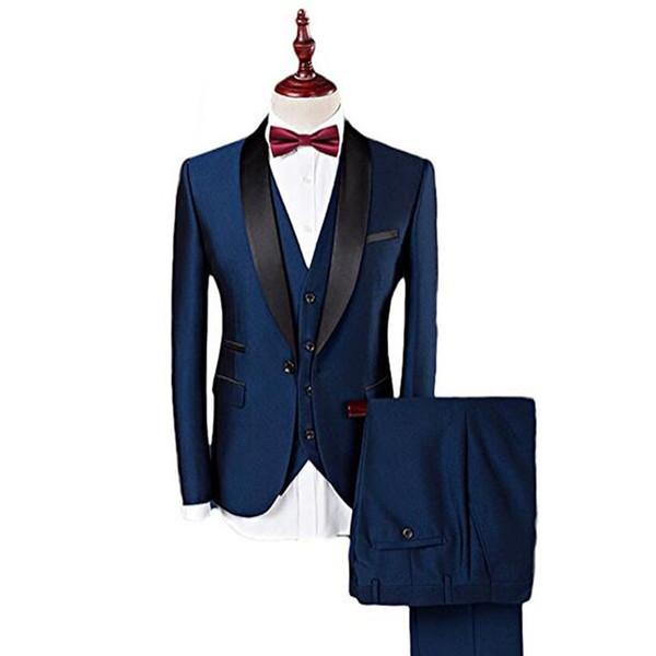 Azul marino Formal Boda Padrinos de boda Esmoquin 2018 Tres piezas Chal Solapa Trajes de hombre de negocios por encargo (Chaqueta + Pantalones + Chaleco)