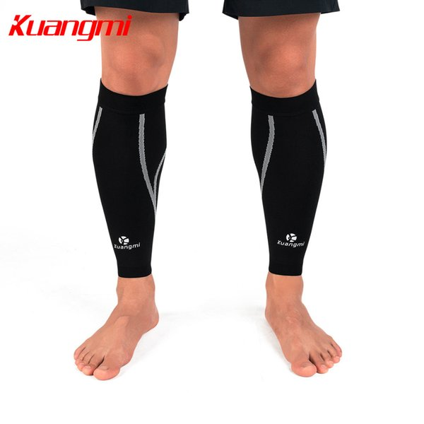 Kuangmi 1 Pair Calf Compression Sleeves Knitted Fabric Leg Warmers Running Shin Guard Sports Calf Socks Support Pain Relief