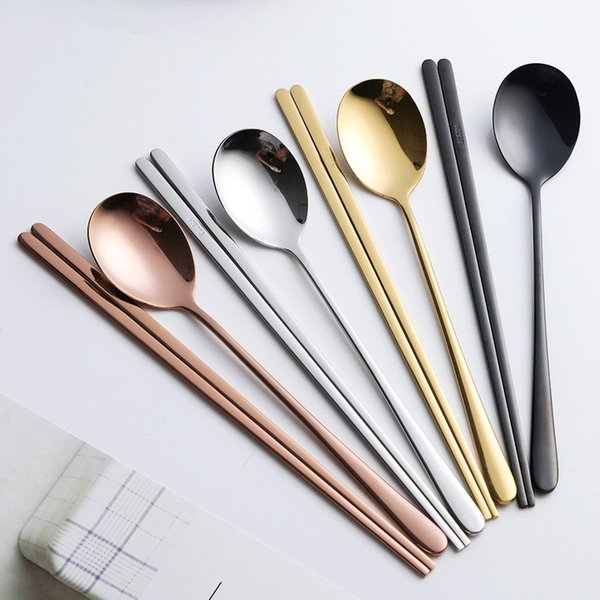 2pcs/set Portable 304 Stainless Steel Korean Dinnerware Sets Black Rose Golden Silver Chopsticks Spoons Tableware Sets DDA647