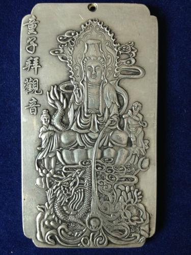 """Old Chinese""""tong zi bai guan yin"""" tibet Silver Bullion amulet"""