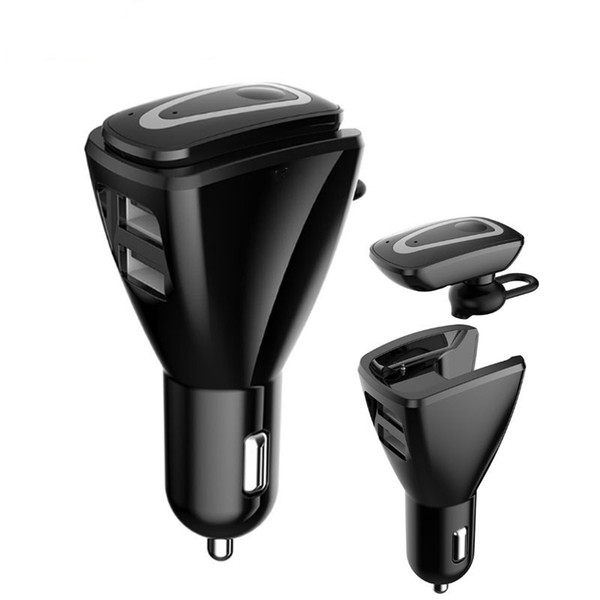 Car Bluetooth 4.1 Stereo Headset Wireless Hands Free Car Kit Audio Music Receiver With 5V 3.1A Dual USB Charging Dock