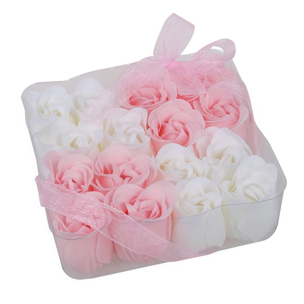 New 16 Pcs Pink White Bathing Scented Rose Soap Petals