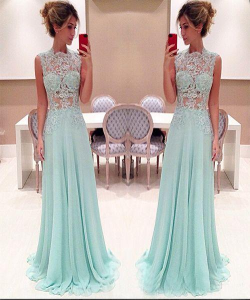 Mint Green Evening Dresses 2018 A-line Chiffon Lace High Neck Illusion Bodice Cheap Long Floor Length Prom Dress Party Gown