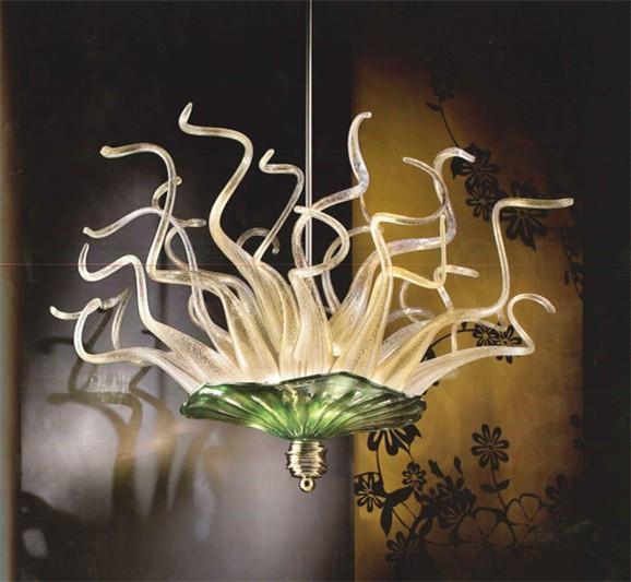 Placa moderna do vidro de Murano lustre Art teto Quarto Sala Hotel Decor Flor pingente luminária 110-240V