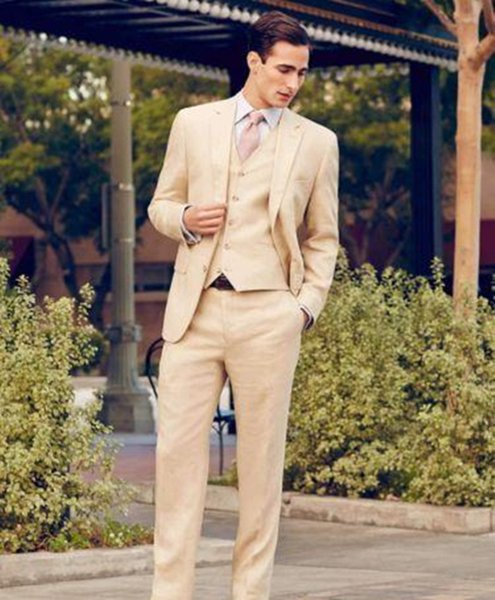 2018 Cheap Custom Made Beige Wedding Tuxedos Slim Fit Groom Men's Suits High Quality Formal Party Suit (Jacket+Pant+Vest)
