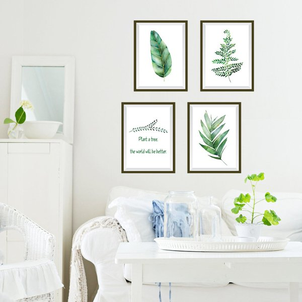 Small fresh wall affixing bedroom living room warm TV wall sticker background wall painting green tree bird sk7131