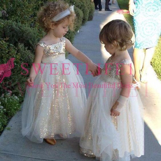 2018 Cheap Gold Sequins Flower Girls Dresses Spaghetti Straps A Line Tulle Gils Pageant Gown First Communion Dresses Cheap Hot Sale
