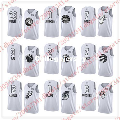half off a868b 86432 2017 2018 All Star 0 Andre Drummond 7 Goran Dragic 3 Bradley Beal 2 John  Wall Jersey 7 Kyle Lowry 12 Aldridge 0 Lillard 6 Porzingis White Jerseys  From ...