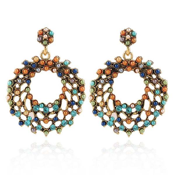 Bohemian Style Dangle Earrings Hollow Colorful Pearl Women Earrings Vintage Geometric Creative Luxury Earrings For Lady