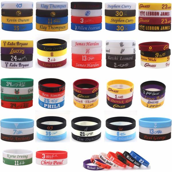 100pcs mélanger le bracelet de haute qualité de bracelet en silicone NBAstar de joueur de basket-ball