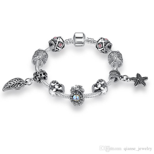 European Silver Plated Starfish Leaves Beads Charms Bracelets For Women Safety Chain Bracelets&Bangles DIY Original Jewelry Making