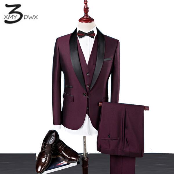 XMY3DWX (jackets+vest+pants) men Premium brand Pure cotton stage show business BLAZERS/Men formal career three-piece suit S-4XL S18101903