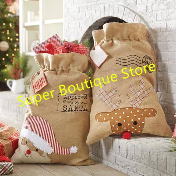 Free shipping fast delivery burlap Christmas Santa Sacks xmas santa gift bag 2 styles stock good quality tree ornament santa sack