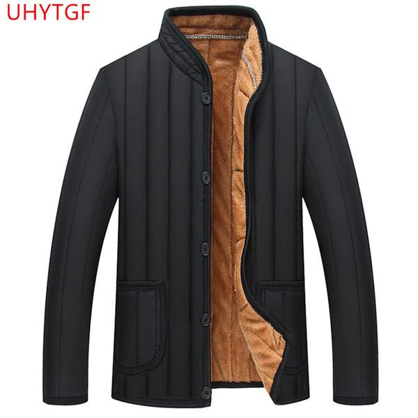Winter jacket men Plus velvet Cotton coat Large size Winter male jacket Long sleeve Suitable for men Leisure Tops black 649