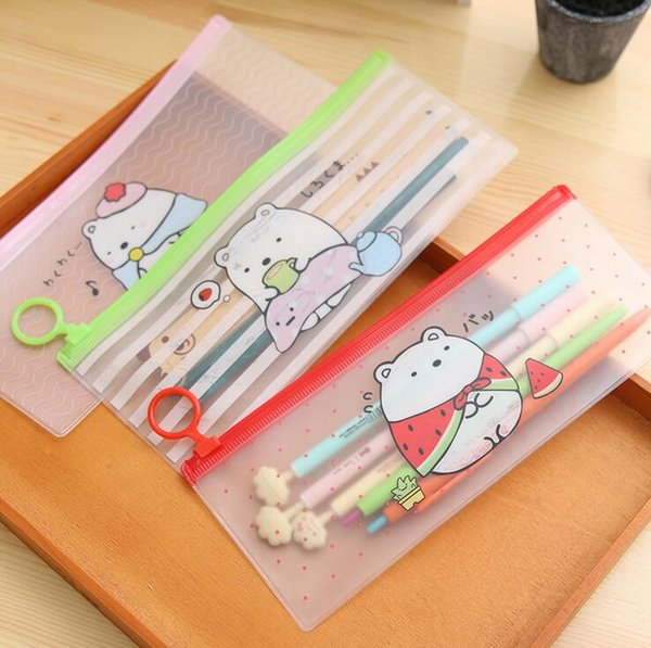 pencil bags korean stationery cute cartoons transparent waterproof PVC pencil cases storage organizer pen bags pouch school office supply