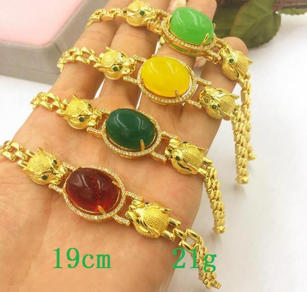 European currency Gold ornaments Gold bracelet Leopard head gems men women Fashion simple Vietnamese gold dust Bracelet 4 color choice