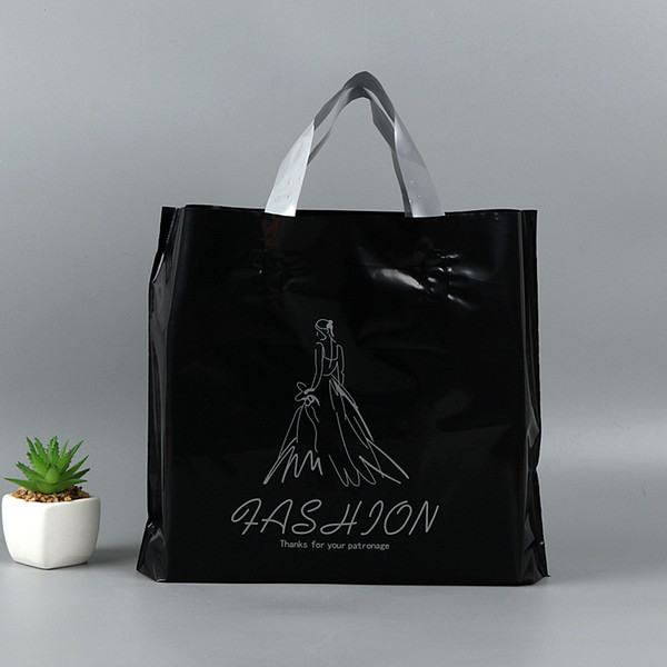 Thicken Gift Handbags Black Color Women Girl Clothing Packaging Large Plastic Gift Bag With Handle QW7314
