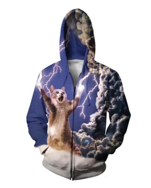 New Fashion Couples Men Women Unisex Animal Cat 3D Print Zipper Zip Up Hoodies Jacket Top X13