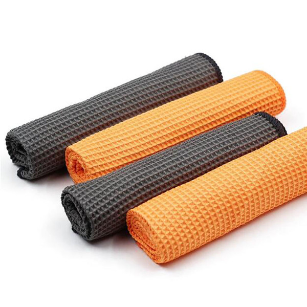 Car Wash Towel Glass Cleaning Water Drying Microfiber Window Clean Wipe Auto Detailing Waffle Weave for Kitchen Bath 40*40cm 2pcs/set