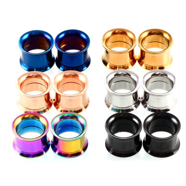 12pcs / lot bouchons d'oreille en acier inoxydable tunnels oreille expansion alésoir 3-20mm Euramerican ponction humaine bijoux mélange couleur envoyer livraison gratuite