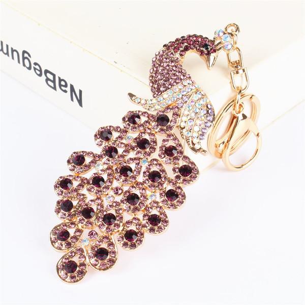 Purple Peacock Bird Pendant Charm Rhinestone Crystal Purse Bag Keyring Key Chain Wedding Party Gift