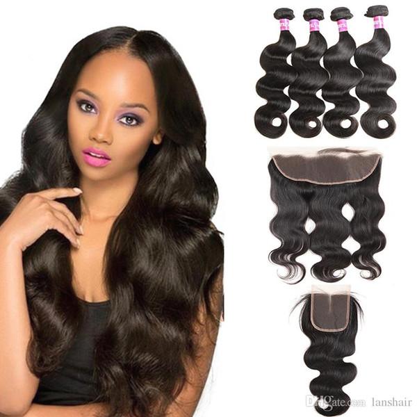 Corps du Brésil Human Wave Virgin Hair 4 Bundles avec fermeture de vague de corps de fermeture Bundle Offres 13x4 Lace Frontal pas cher Extensions de cheveux
