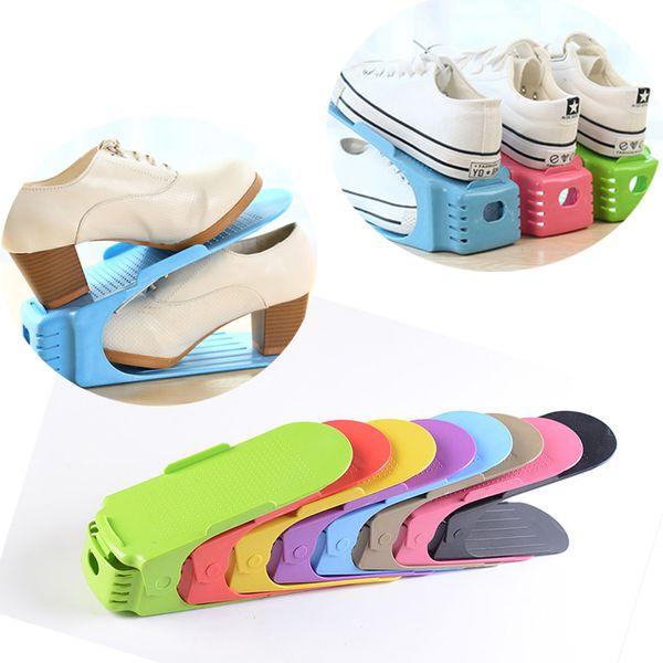 Réglable Stock Durable En Plastique Chaussures Support D'affichage Économie D'espace Nettoyage Chaussures De Rangement Rack De Rangement À La Maison Organisateur Multi-couleur