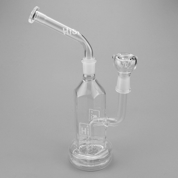 Hi Si Glass Hex Stemless Bubbler with Removable Mouthpiece Geyser Perc bent neck and 11inches tall