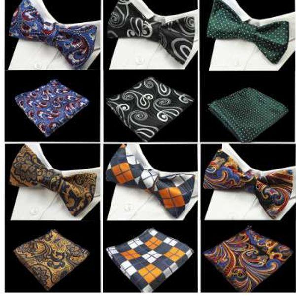 GUSLESON Nuovo design Self Bow Tie e Hanky Set Silk Jacquard Woven Men BowTie Pocket Square Fazzoletto Suit Wedding Party
