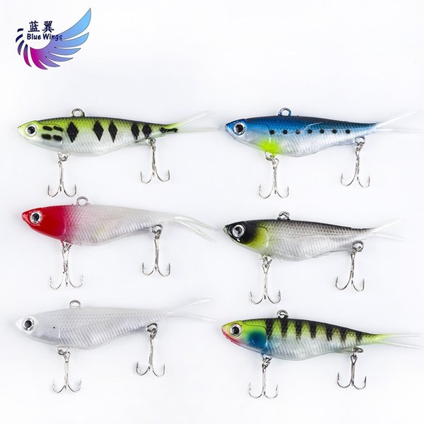 6PCS Forked Tail Soft Baits 20g 9.5cm Lead Fish Fishing Lure Soft Silicone Fake Baits with Double Treble Hooks for Big Fish