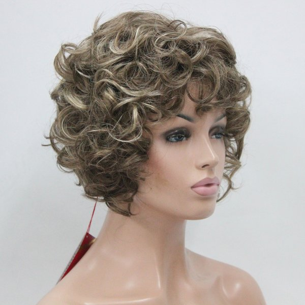 2018 New charming sexy fashion cute cosplay sexy Brown mix blonde Highlights curly short wig women's full wig