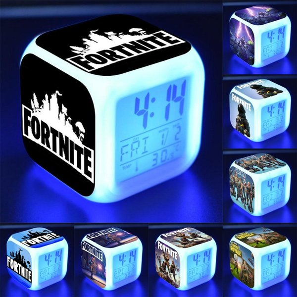 Digital Fortnite Alarm Clock Night Glowing Cub LED Fortnite Clock Home Decor Electronic Action Figure Toys Kids Gift