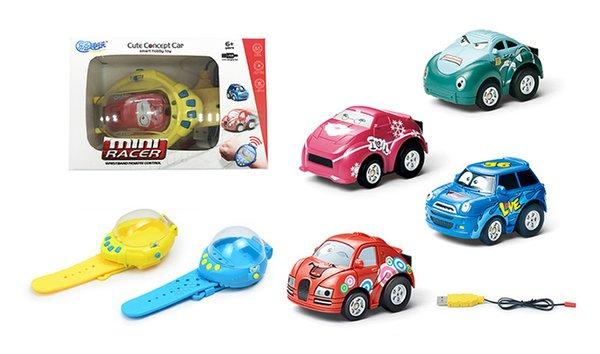 Mini coches de dibujos animados RC, reloj de radio portátil de 2.4Ghz coche de control remoto AZUL