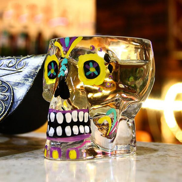 Skull Wine Glasses Fashion Whiskey Beer Crystal Wine Glasses For Club Party Creative Crystal Cup Personality Hand Painted Mugs