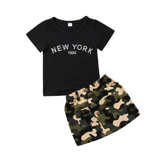2018 Toddler Kids Baby Girl Black Letters T-shirt Tops Camo Skirt Summer Summer Set Outfits Clothes