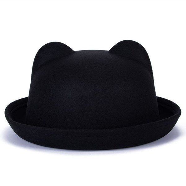 Women Fashion Vintage Wool Horn Parent-Child Bowler Fedora Hats Unisex  Cat Ear Cap