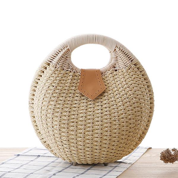 2018 New Style Woman Straw Handbag Shell Shaped Fashion Ladies Rattan Handbag Weaving Snail's Nest Tote For Casual Summer Beach Purse Bag