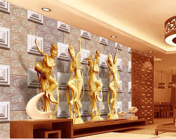 Maßgeschneiderte Tapeten Für Wände Dignitary Und Elegante 3D Skulptur  Dunhuang Fliegen Wohnzimmer Wand Küche Tapete