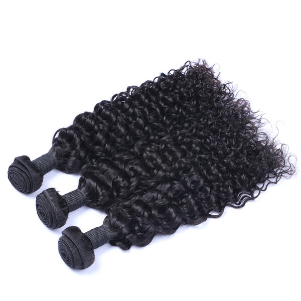 Indian Jerry Curl 3 Bundles / lot Human Virgin Hair Weaves Natural Black Color 100g/Bundle Double Weft Hair Extensions