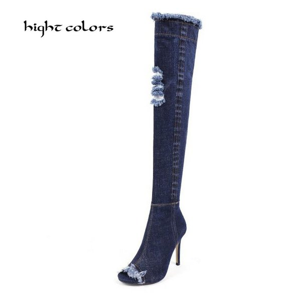 hight colors Plus Size Pointed Toe Women Spring Autumn High Heels Denim Knee High Boots Lady 2017 New Fashion Jean Long Boots