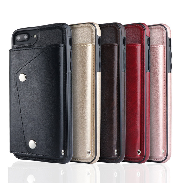 Wallet ID Card Slot Leather For Iphone X 8 7 6 6S Plus Galaxy S9 S8 Note 8 Soft TPU Silicone Cash Cases Magnetic Cover+Strap Holder Deluxe