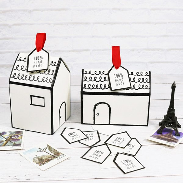 20pcs Hand-painted Small House Paper Candy box cookies packaging box nougat baking packaging gift with ribbon tag