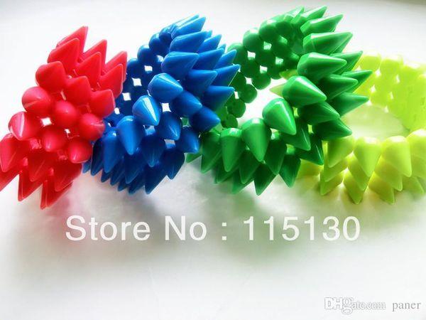 Wholesale- New Arrival 3 Rows Stretchy Bracelet Pock Punk Spike Rivets Bracelets Bangles Stud Charm Bracelets For Women Fashion Accessories