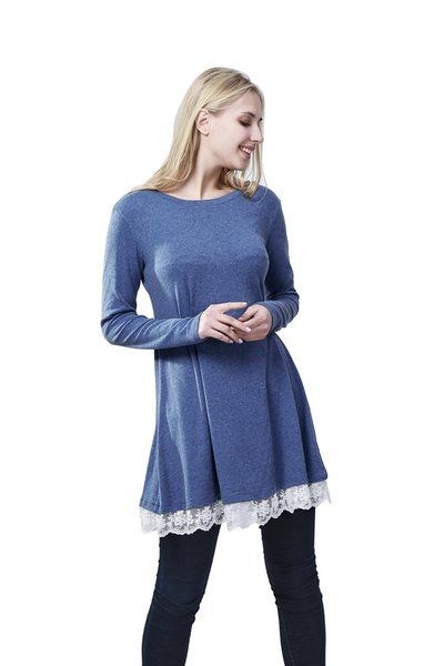 10 colors Women lace bottom loose t-shirt long sleeves cotton lace t-shirt with lace on bottom loose hem casual t-shirt dress spring wear