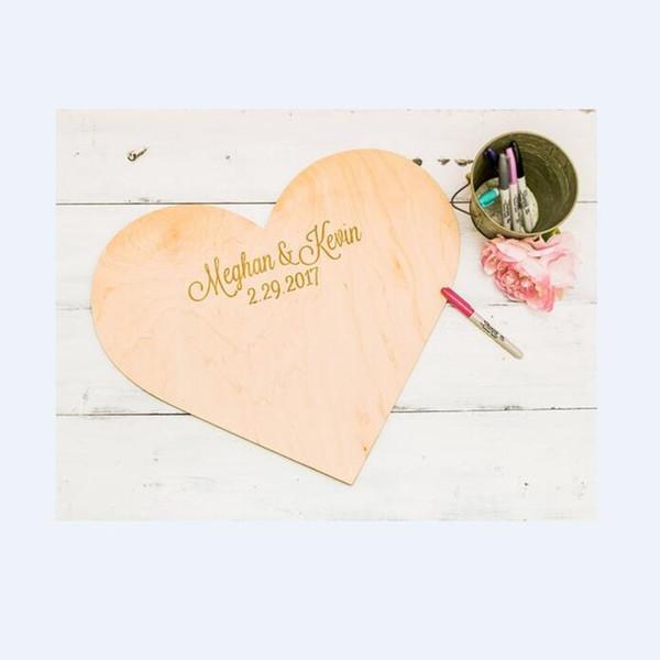 Libro degli ospiti di nozze personalizzato Libro degli ospiti di legno personalizzato Libro degli ospiti unico inciso a forma di cuore